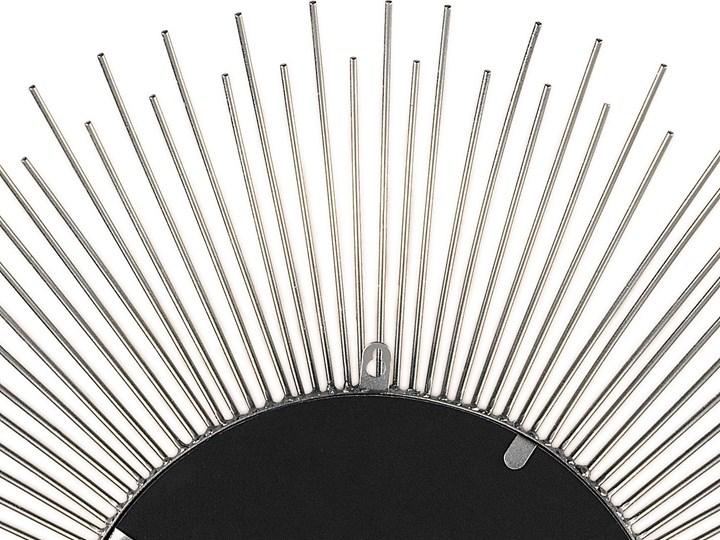 Lustro wiszące ścienne srebrne 80 cm okrągłe metalowe promienie słońca Lustro z ramą Styl Nowoczesny