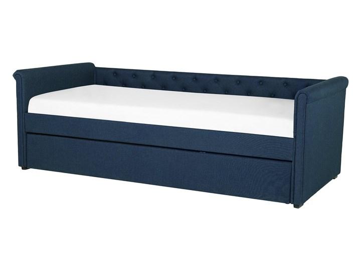 Łóżko dziecięce wysuwane ze stelażem ciemnoniebieskie tapicerowane tkaniną pikowane oparcie 90 x 200 cm Tworzywo sztuczne Drewno Rozmiar materaca 90x200 cm