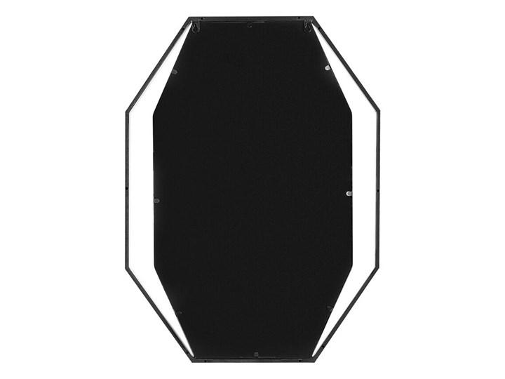 Lustro ścienne wiszące ośmiokątne szare metalowe 80 x 60 cm styl nowoczesny minimalistyczny Pomieszczenie Salon Styl Glamour