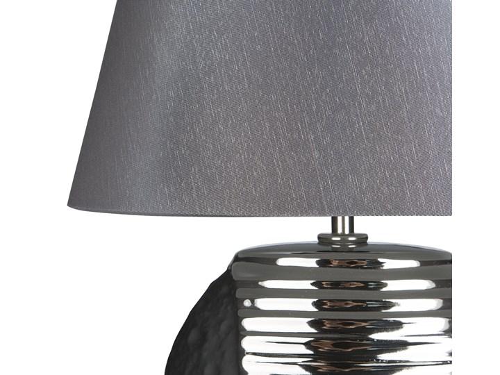 Lampka nocna czarna ze srebrnym ceramiczna ozdobna Kolor Czarny Lampa nocna Lampa dekoracyjna Lampa z kloszem Styl Nowoczesny