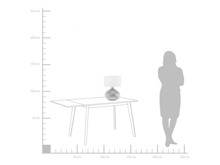 Lampa stołowa srebrna biała 55 cm szklana podstawa wysoki połysk glamour Kolor Srebrny Lampa nocna Styl Nowoczesny