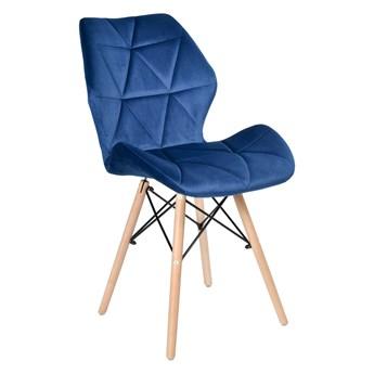Krzesło tapicerowane RENNES VELVET - granatowy