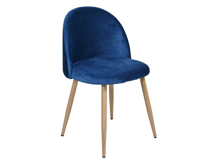 Krzesło tapicerowane Jazz Velvet granatowy Krzesło inspirowane Szerokość 49 cm Wysokość 79 cm Głębokość 48 cm Wysokość 78 cm Metal Tworzywo sztuczne Drewno Tkanina Welur Pomieszczenie Pokój nastolatka