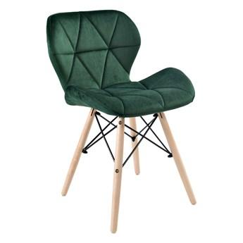 Krzesło tapicerowane MURET VELVET DSW - aksamitny ciemnozielony
