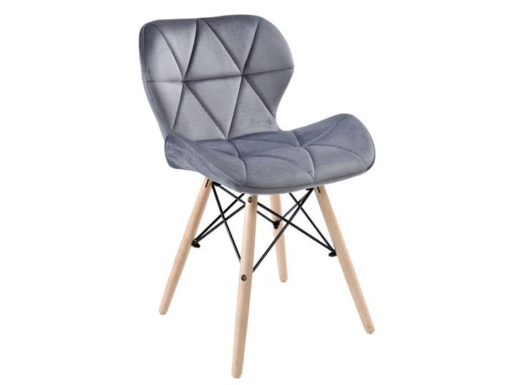 Krzesło tapicerowane MURET VELVET DSW aksamitny grafitowy