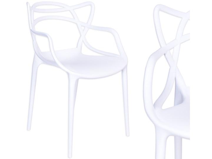 Krzesło LILLE  białe Z podłokietnikiem Kolor Biały Szerokość 55 cm Wysokość 81 cm Szerokość 40 cm Głębokość 45 cm Krzesło inspirowane Tworzywo sztuczne Kategoria Krzesła kuchenne