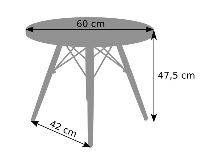 Stolik okrągły Paris 60cm - biały Płyta MDF Wysokość 48 cm Styl Nowoczesny