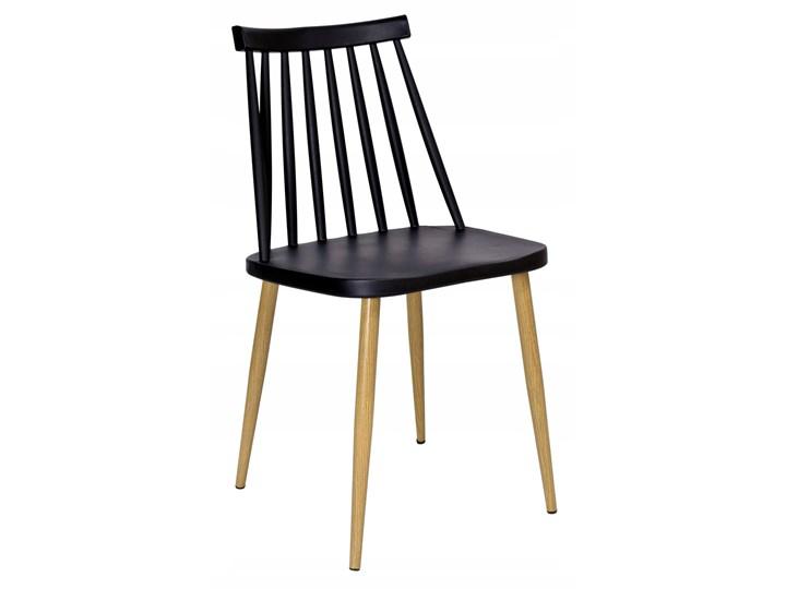 Krzesło KENDO czarne Metal Tworzywo sztuczne Drewno Metal Tworzywo sztuczne Tworzywo sztuczne Metal Drewno Styl Skandynawski