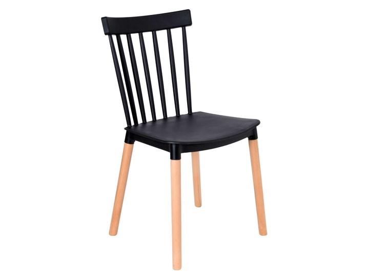 Krzesło ODETTA czarne Drewno Tworzywo sztuczne Drewno Drewno Styl Skandynawski