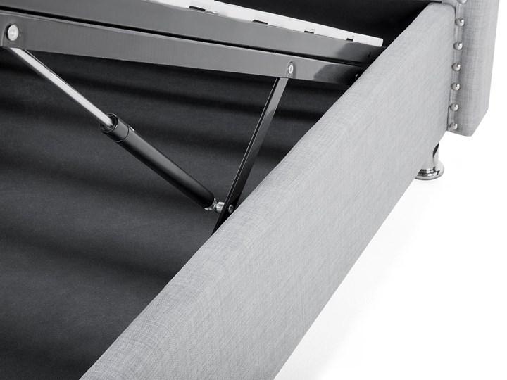 Łóżko szare tapicerowane 90 x 200 cm z pojemnikiem i stelażem ozdobne wezgłowie z kryształkami i ćwiekami Kategoria Łóżka do sypialni Łóżko tapicerowane Kolor Szary