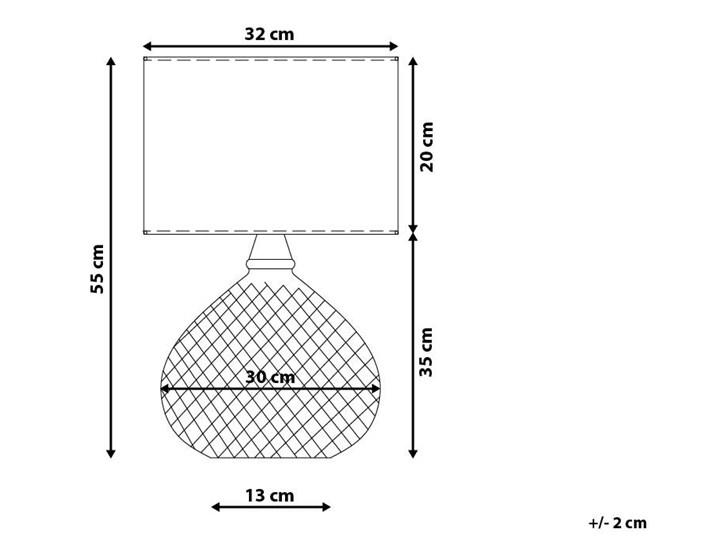 Lampa stołowa srebrna biała 55 cm szklana podstawa wysoki połysk glamour Kategoria Lampy stołowe Lampa nocna Styl Nowoczesny