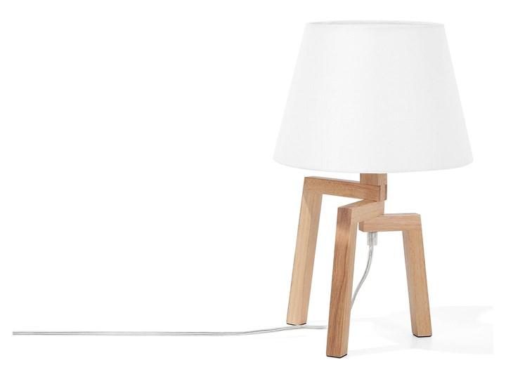 Lampa stołowa biała jasne drewno 42 cm trójnóg skandynawska Lampa nocna Kolor Biały Lampa z abażurem Styl Skandynawski