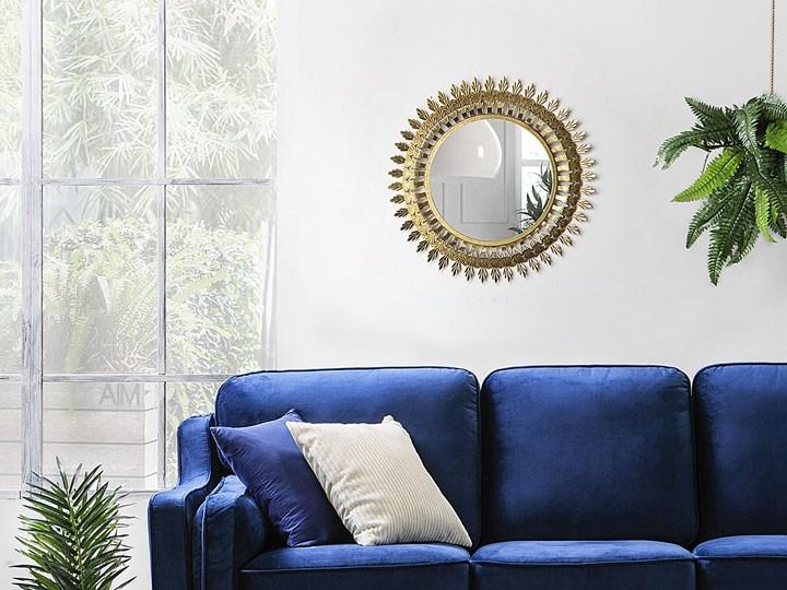 Lustro ścienne wiszące złote 60 cm salon sypialnia Okrągłe Lustro z ramą Kolor Złoty Styl Glamour
