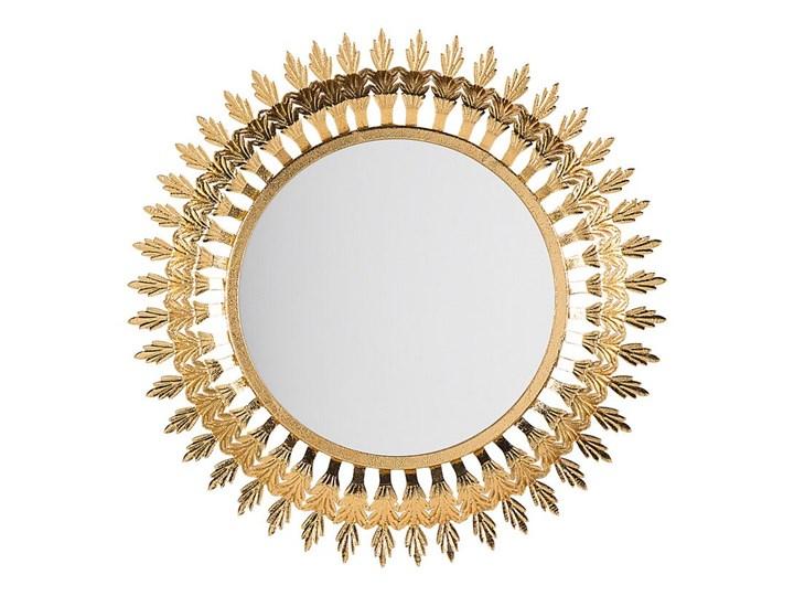 Lustro ścienne wiszące złote 60 cm salon sypialnia Lustro z ramą Okrągłe Styl Glamour