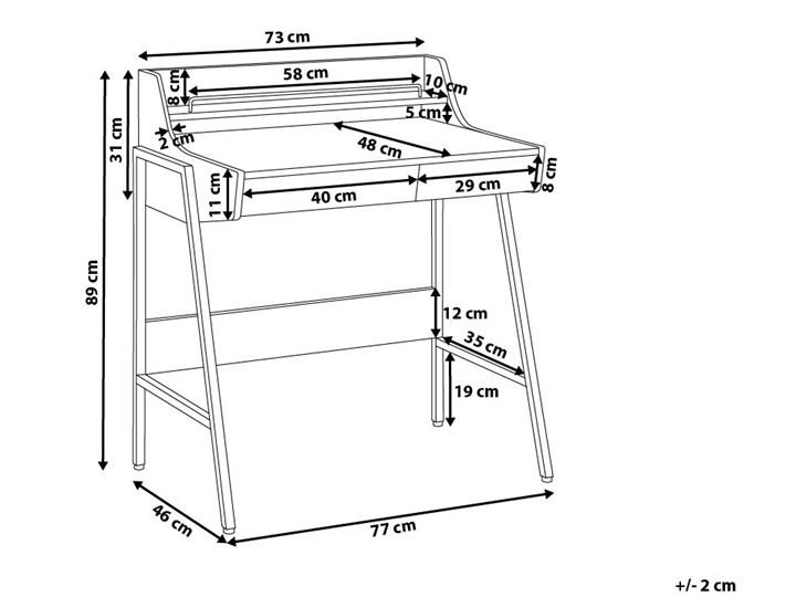 Małe biurko jasnobrązowe 73 x 48 cm z nadstawką i szufladami na stalowej ramie Szerokość 72 cm Biurko z nadstawką Płyta MDF Drewno Biurko komputerowe Styl Nowoczesny