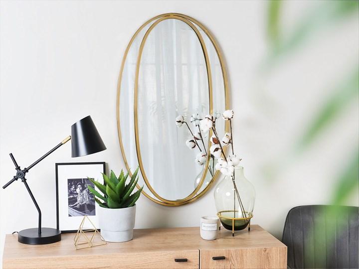 Lustro ścienne wiszące owalne złote 90 x 55 cm dekoracja ścienna do salonu glamour Pomieszczenie Przedpokój Kolor Złoty