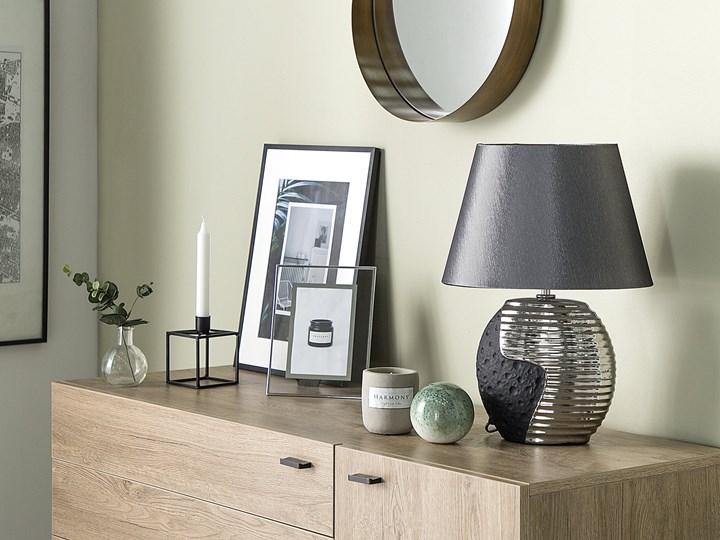 Lampka nocna czarna ze srebrnym ceramiczna ozdobna Kolor Czarny Lampa nocna Lampa z kloszem Lampa dekoracyjna Styl Nowoczesny