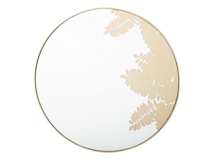 Okrągłe lustro ścienne złote metalowa rama 56 cm wzór liści łazienka salon styl retro Lustro z ramą Styl Vintage