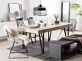 Stół do jadalni jasne drewno czarne metalowe nogi 150 x 90 cm prostokątny styl industrialny Płyta MDF Długość 150 cm  Pomieszczenie Stoły do jadalni Rozkładanie