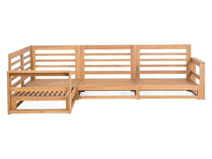 Zestaw mebli ogrodowych jasne drewno akacjowe narożnik szare poduszki stolik kawowy Zestawy wypoczynkowe Zestawy kawowe Styl Nowoczesny Zestawy modułowe Kategoria Zestawy mebli ogrodowych