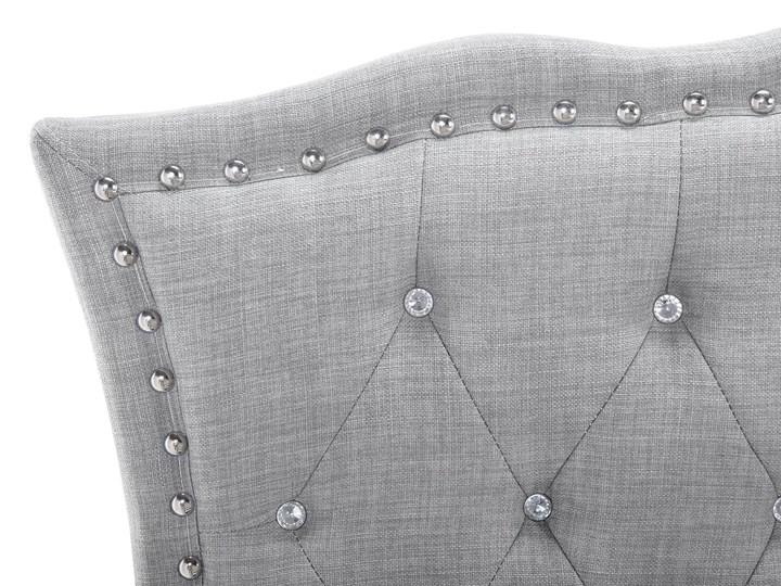 Łóżko szare tapicerowane 90 x 200 cm z pojemnikiem i stelażem ozdobne wezgłowie z kryształkami i ćwiekami Łóżko tapicerowane Kategoria Łóżka do sypialni Kolor Szary