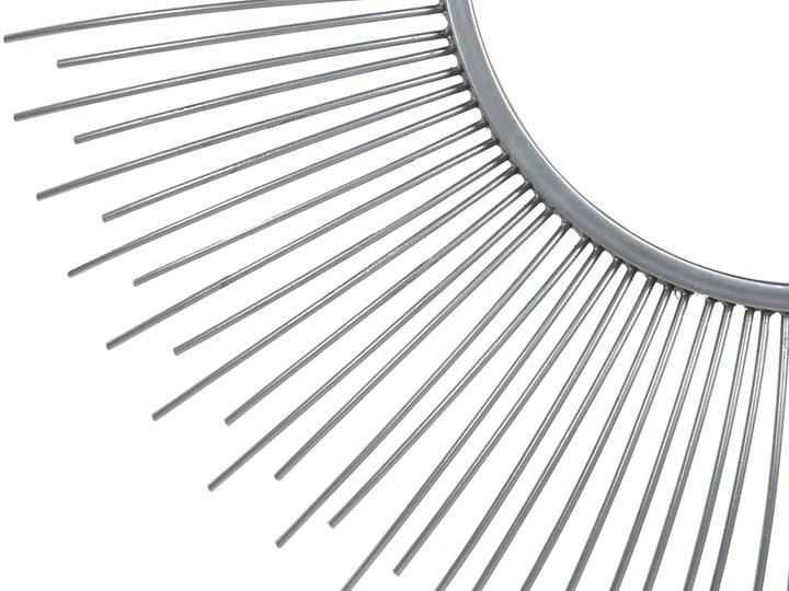Lustro wiszące ścienne srebrne 80 cm okrągłe metalowe promienie słońca Lustro z ramą Pomieszczenie Salon Styl Nowoczesny