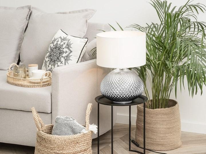 Lampa stołowa srebrna biała 55 cm szklana podstawa wysoki połysk glamour Lampa nocna Kolor Srebrny