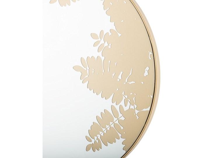 Okrągłe lustro ścienne złote metalowa rama 56 cm wzór liści łazienka salon styl retro Lustro z ramą Kolor Złoty Styl Nowoczesny