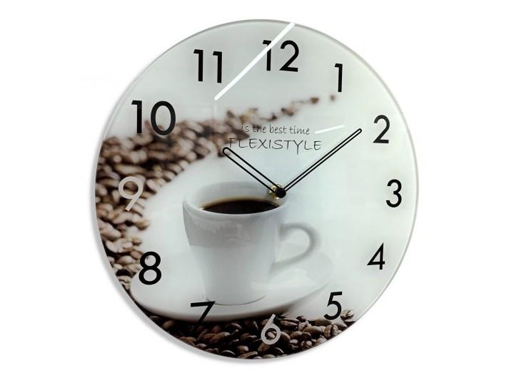 Zegar szklany UV okrągły Kawa