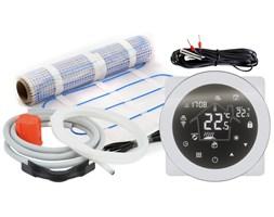 Dotykowy termostat WiFi 16A + czujnik podłogowy + mata grzewcza 3m2 oraz akcesoria do montażu