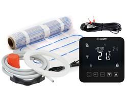 Dotykowy termostat 16A 24/7 + czujnik podłogowy + mata grzewcza 3m2 oraz akcesoria do montażu