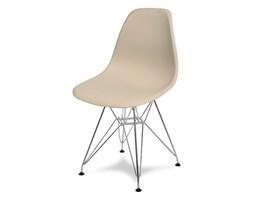 Krzesło nowoczesne na metalowych chromowanych nogach stylowe do kuchni jasny brąz 212 AB