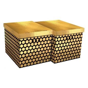 Pudło dekoracyjne XL kropki złote 2 szt.