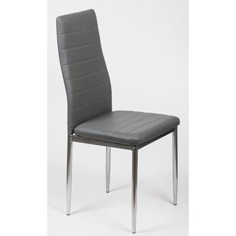 4 krzesła do jadalni szare K1 ekoskóra, pasy, nogi srebrne