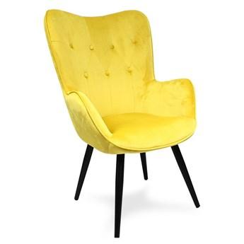 Fotel uszak skandynawski welur retro do salonu na metalowych nogach żółty F908Y