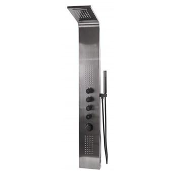 czarny panel prysznicowy TERMOSTAT