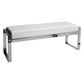 Stylowa ława z białym siedziskiem 130 x 41 x 48 cm Y1027