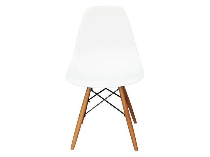 Krzesło skandynawskie MILANO DSW białe Wysokość 41 cm Metal Szerokość 46 cm Drewno Głębokość 40 cm Wysokość 83 cm Tworzywo sztuczne Kolor Srebrny Kolor Biały