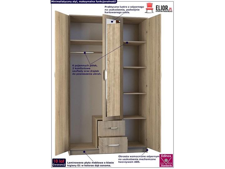 Szafa z lustrem Amira 3X - dąb sonoma Drewno Pomieszczenie Garderoba Pomieszczenie Przedpokój