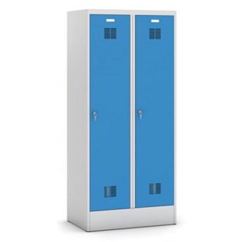 Metalowa szafka ubraniowa z przegrodą, niebieskie drzwi, zamek obrotowy, dmeontowana