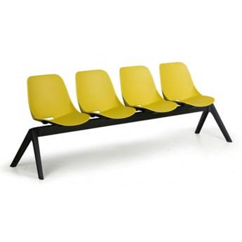 Plastikowa ławka do poczekalni Monoshell, 4-miejscowa, zielona
