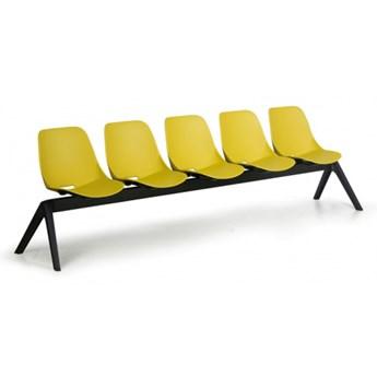 Plastikowa ławka do poczekalni Monoshell, 5-miejscowa, zielona