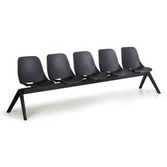 Plastikowa ławka do poczekalni Monoshell, 5-miejscowa, czarna