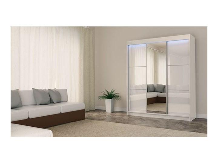 Szafa przesuwna Greta 3X - biała lacobel lustro Kolor Biały Drewno Kategoria Szafy do garderoby
