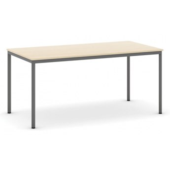 Stół do jadalni i stołówki, ciemnoszara konstrukcja, 1600x800 mm, brzoza