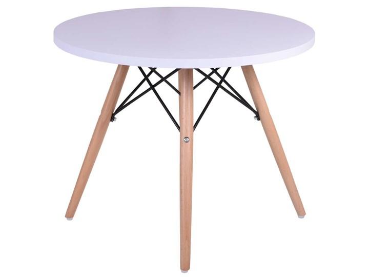 Stolik okrągły Paris 60cm - biały Wysokość 48 cm Płyta MDF Kształt blatu Okrągłe Kategoria Stoliki i ławy