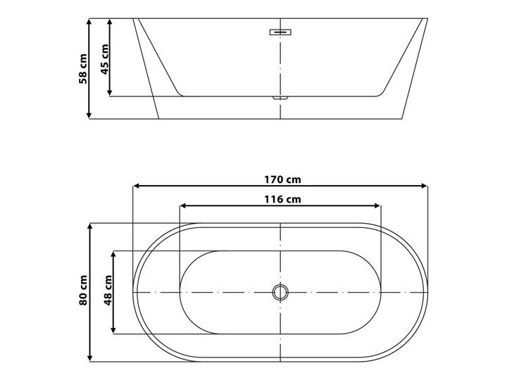 Wanna wolnostojąca biała akrylowa 170 x 80 cm system przelewowy owalna nowoczesna Wolnostojące Długość 170 cm Kolor Biały