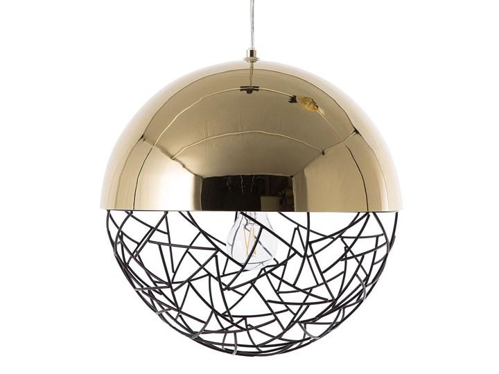 Lampa sufitowa złota metalowa 124 cm ażurowa czarna osłona wysoki połysk glamour Lampa druciana Lampa z kloszem Kolor Złoty Kategoria Lampy wiszące