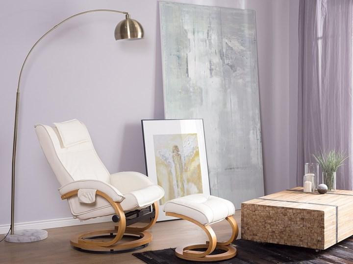 Fotel wypoczynkowy podgrzewany z masażem i podnóżkiem beżowy ekoskóra drewniana rama odchylane oparcie Skóra ekologiczna Drewno Fotel masujący Styl Nowoczesny