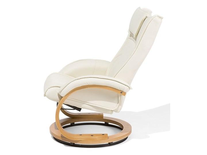 Fotel wypoczynkowy podgrzewany z masażem i podnóżkiem beżowy ekoskóra drewniana rama odchylane oparcie Pomieszczenie Salon Skóra ekologiczna Drewno Fotel masujący Styl Vintage